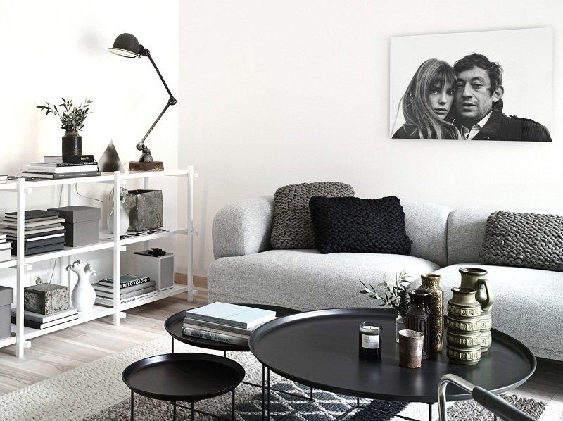 Scandinavian Living Room Black and White