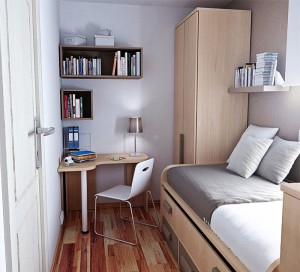 Awesome-Tiny-Bedroom-Ideas-using-Corner-Desk-and-White-Chair-beside-Oak-Bed-with-Storages